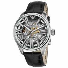 100% NEW Emporio Armani Men's AR4629 Meccanico Black Skeleton Dial Watch