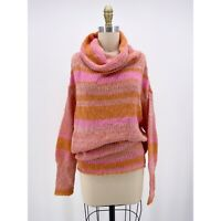 Free People Womens Candy Stripe Tunic Sweater Cowl Neck Flowers Pink Size S $148