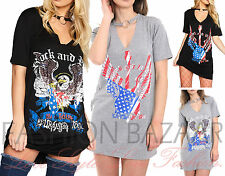 Womans Vintage Guitar Rock & Roll Long T Shirt Mini Party Dress Ring Choker Top