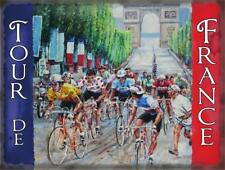TOUR DE FRANCE FLAG CYCLING LARGE,MED,SMALL VINTAGE STEEL WALL PLAQUE TIN METAL