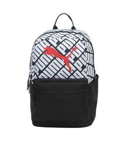 "PUMA Black Red Logo White Padded Laptop Sleeve 18.5"" Backpack School Bag NWT"