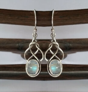 291 Rainbow Moonstone Solid 925 Sterling Silver Celtic Knot Gem Earring rrp$70