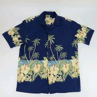 Winnie Fashion Mens Button Front Blue Hawaiian Aloha Shirt Hawaii Size M