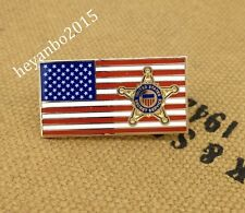 New listing Us Secret Service Metal Chest Pin Badge On Usa Flag Pin.