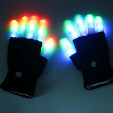 1 Pair Cool LED Rave Black Flashing Gloves Glow 7 Mode Light Up Finger Lighting
