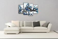 Large Blue Blossom Tree Canvas Picture 4 Panel Split Multi Wall Art 100cm