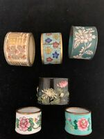 Lot of 6 antique Chinese NAPKIN RINGS. Cloisonné, ceramic, enamel, papier-mâché