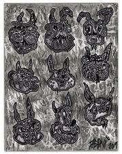 Original JUSTIN AERNI Drawing outsider art dark surreal 2019 : NINE RABBIT HEADS
