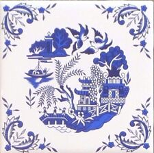 """Blue Willow Ceramic 4.25"""" Accent Tile Kiln Fired Decor with Decorative Corners"""