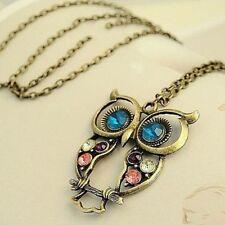 Women Vintage Bronze Rhinestone Owl Pendant Long Chain Necklace Jewelry