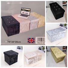 Storage Box Crushed Velvet Diamante Ottoman Folding Toy Storage Box Stool Seat