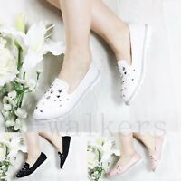 WOMENS LADIES STUDDED FLATS SLIP ON LOAFERS TRAINERS PLIMSOLLS PUMPS SHOES SIZE