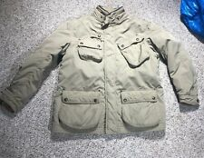 VINTAGE Polo Ralph Lauren Khaki Coat Leather Trim UTILITY FIELD JACKET W HOOD L