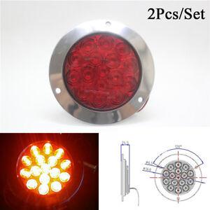2X Red 16 LED Tail Light 12V-24V Round Back-up Reverse Lamp For Truck Trailer RV