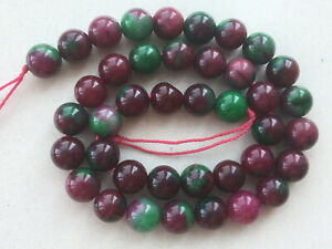 """15 """" New 10mm Red Green Ruby zoisite Round Gems Loose Beads AAA6"""