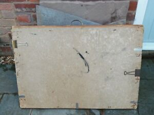 Antique Vintage Draughtsmans Wooden Drawing Board Brass Handle Board Clips