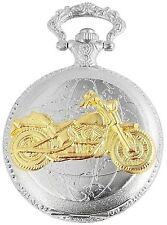 Pocket Watch White Silver Gold Motorcycle Motorbike Bike W-480312000028500