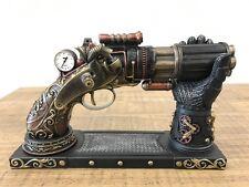 6 Barrel Steampunk Display Pistol Gun W/ Gauntlet Glove Stand Statue Figurine
