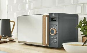 SWAN 20l Nordic Digital Microwave Wood Effect Handle Soft Touch Scandi Grey