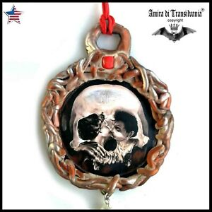 wicca streampunk skull necklace talisman medallion pendant amulet charm jewelry