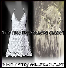 KATE MOSS TOPSHOP VINTAGE 60s 70s WHITE CROCHET DRESS BOHO FESTIVAL UK 12 14 16
