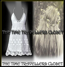 KATE MOSS TOPSHOP VINTAGE 60s 70s WHITE CROCHET DRESS BOHO FESTIVAL UK 10 12 14
