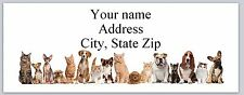 Personalizes Address labels Row of Cute Dogs  & Cats Buy 3 Get 1 free ( ac 948)