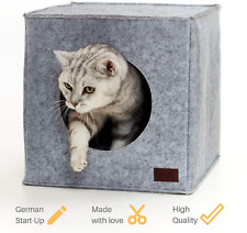 Cat Bed Box House Kitten Cats Beds Den Space Saving Including Cushion Grey