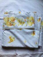 Vintage Full/double Flat Bed Sheet Floral Yellow Roses 1960's Green Leaves