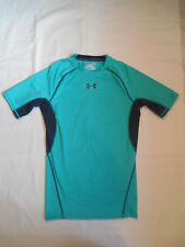 Under Armour Mens Medium T Shirt Heat Gear Compression Mesh Vented Turquoise