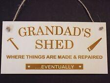 Grandads CAPANNONE in legno da appendere novità PLACCA WORKSHOP GARAGE strumento CAPANNONE SEGNO REGALO