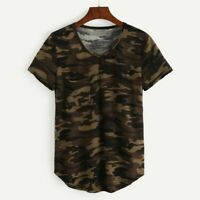 NEW Womens T-Shirt Military Camouflage Army Camo Short Sleeve V-neck Blouse Tops