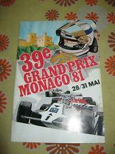 Ancien PROGRAMME 39e GRAND-PRIX AUTOMOBILE DE MONACO F1 1981 ACM Monte Carlo 81