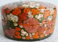 Vintage TRINKET BOX:  Handmade and Hand Painted:  Kashmir, India:  Oval:  Floral