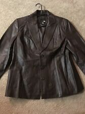 East 5th Brown Leather Button Up Pockets Fitted Lined Jacket Women's LgNwot