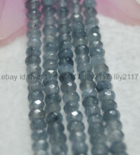 AA Natural 4X6mm Faceted Grey Aquamarine Rondelle Gems Loose Beads 15 Inch