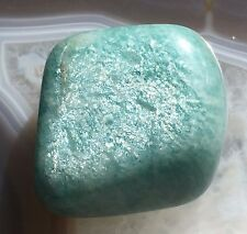 SHIMMERY BLUE AMAZONITE 30m NATURAL GEMSTONE 14g Pocket Tumble Reiki Crystal