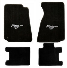 NEW! 1994-1998 Mustang floor mats Black w/ Silver Running Horse Embroidered Logo