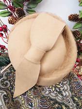 Vintage Style 1940's Forties 100% Wool Camel Felt Hat With Loop Trim Half Hat