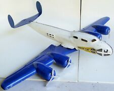 VINTAGE BUDDY L TRANSPORT PLANE PRESSED STEEL FOUR PROPELLERS AIRPLANE TOY