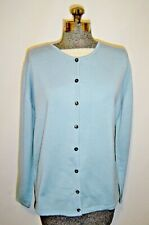 Peter Hahn Light Blue Wool Crew Neck Hip Length ButtonFront LSlve Cardigan Sz 16