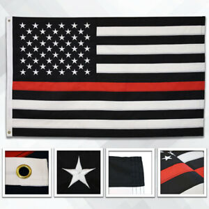 Embroidered Thin Red Line Flag 3x5ft Thin Line Flag Fire Department