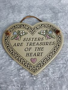 Trinity Pottery Sisters are treasures of the Heart Plaque USA gift sibling love