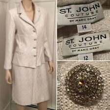 ST JOHN COUTURE Size 12 14 Large Silver Sequin Beaded Stretch Knit SKIRT SUIT
