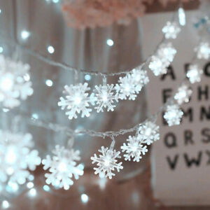 LED Curtain Window Snowflake Battery Fairy String Lights Garden Party Xmas Decor