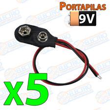 5x Cable Clip 9v recto battery alimentacion terminal holder portapilas cuadrada
