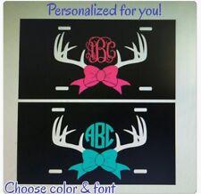 Monogram License Plate Antlers Deer Horns Personalized Car Tag New