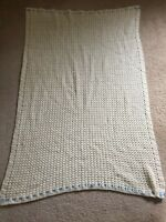 Vintage Handmade Crochet Baby Afghan Throw Quilt Cover Yellow 48 X 34 Inches