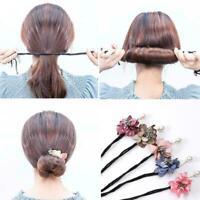 Women Wild Hair Ring Flower Bun Maker DIY Hair Tools Making M0N3