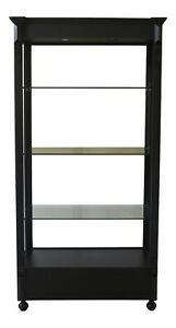 LF48246EC: Black Lighted Open Display Curio Shelf